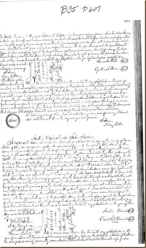 Austin Duinell,Charlotte Duinell,Warren Co, OH convey John Irwin 1855 3