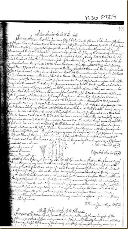 John Irwin and his wife, Elizabeth Irwin of Warren County, Ohio convey to M.W. Cor