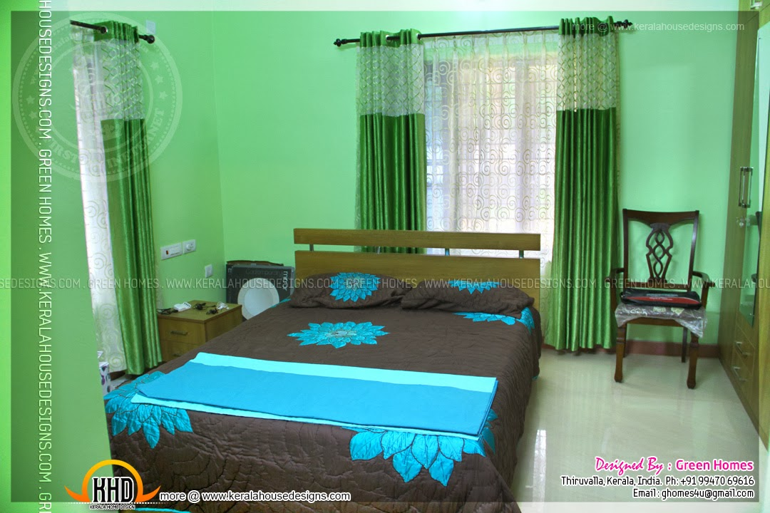 Completed home with interior photos home kerala plans for Bedroom designs kerala style