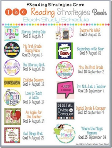 The Reading Strategies Book Schedule