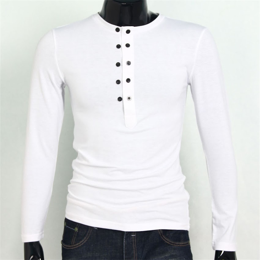 Mens stylish long sleeve button top jersey henley shirt for Mens long sleeve slim fit henley shirts