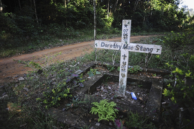 A cross stands on the spot where U.S.-born nun and activist, Dorothy Stang, was murdered in 2005, inside the PDS Esperanca community, a project in sustainable development that Stang founded, in Anapu, Brazil. Photo: Lunae Parracho / Reuters