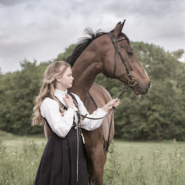 The Confirmand by Mette Christine Olsen - Uncategorized All Uncategorized ( blonde, friends, girl, horse, outdoors, friendship, confirmation, thoroughbred )