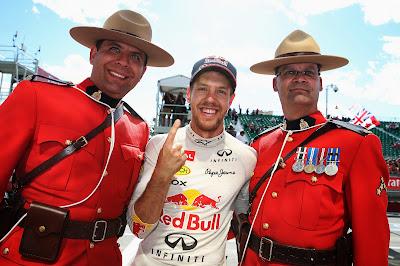 Себастьян Феттель и канадские полицейские на Гран-при Канады 2013