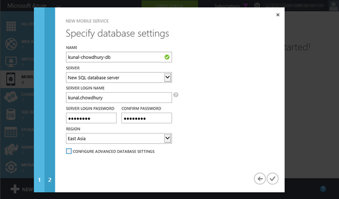 4. Windows Azure - Mobile Service - Specify Database Settings (www.kunal-chowdhury.com)
