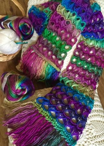 Living Well Shantis Art Work Journal Broomstick Lace Scarf