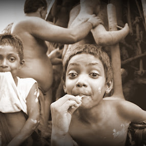 The Happiness by Sudipta Jana - People Street & Candids ( sepia, joy, happy, street, boy,  )