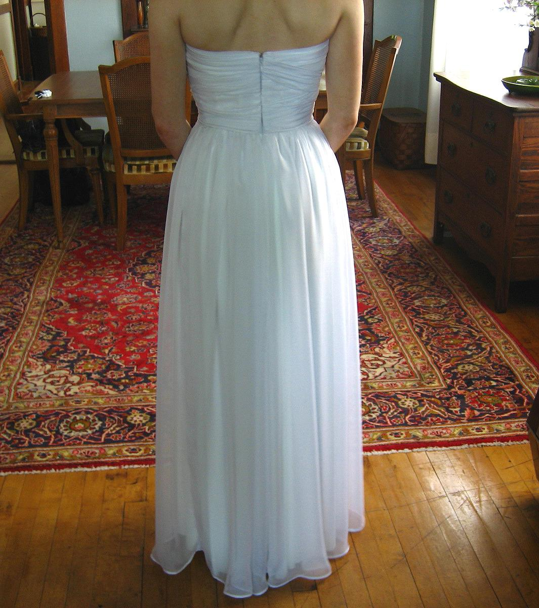 white chiffon wedding gown