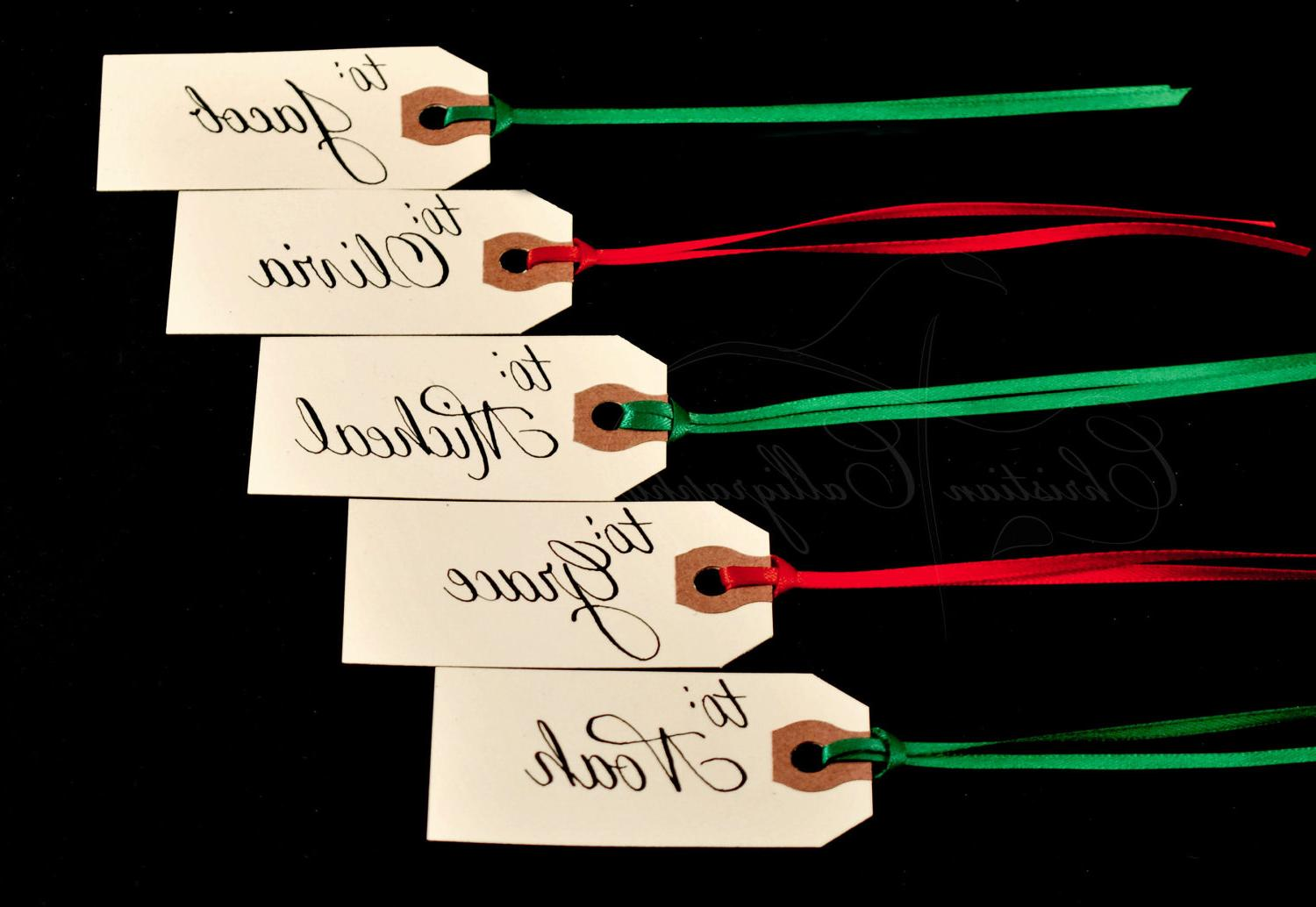 Calligraphy Personalized Christmas Gift Tags with Embossing  5 tags