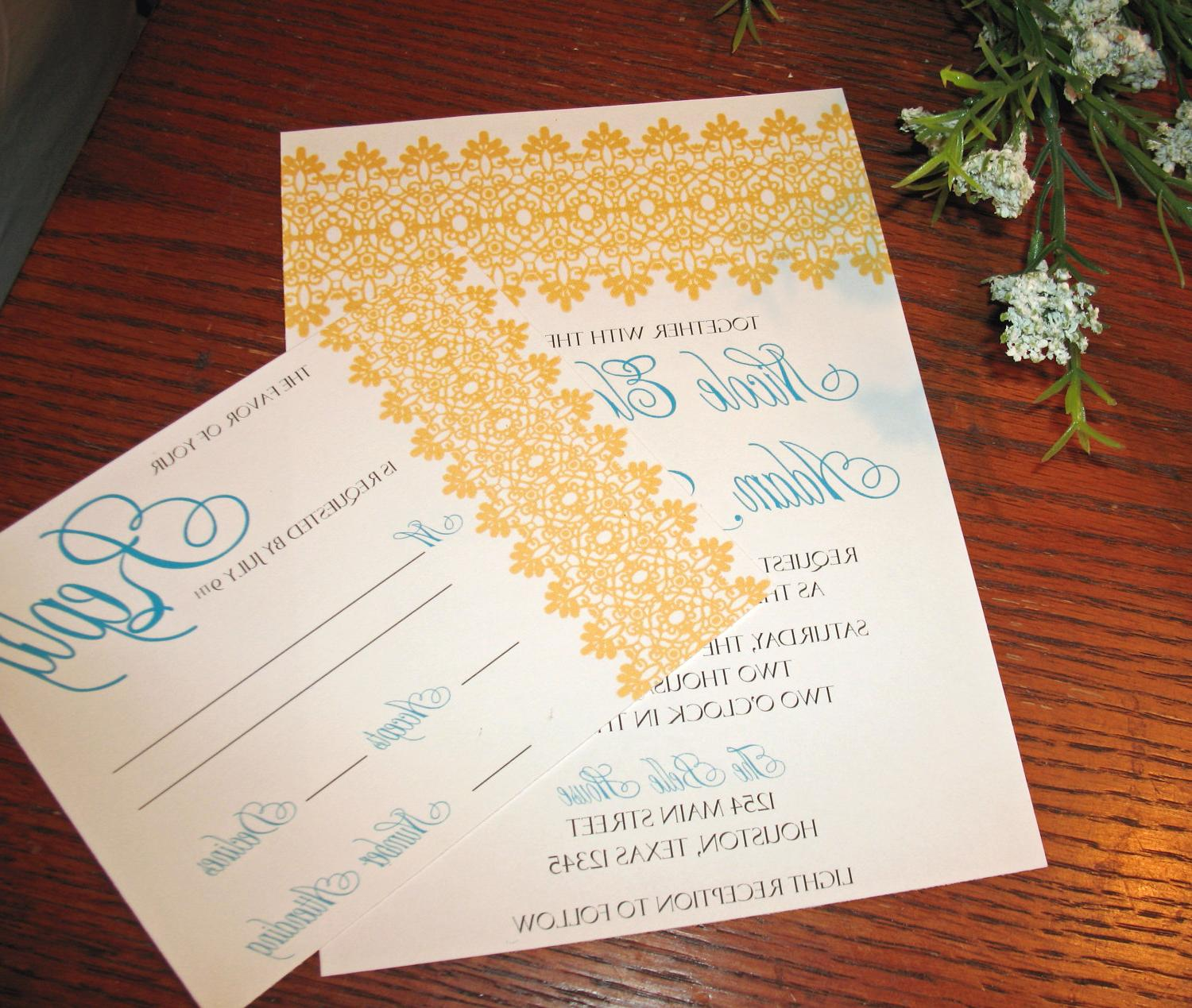 Lace Scroll Wedding Invitation