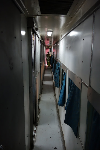 Hallway in the 2AC train to Ahmedabad.