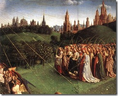 Jan van Eyck - The Ghent Altarpiece_ Adoration of the Lamb _detail top right 1_