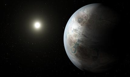 ilustração do planeta Kepler-452b ao redor de sua estrela