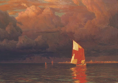 Ivan Fedorovich Choultse - Sailing boat at sunset on the gulf of Finland