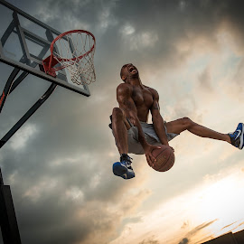 Sky by Algernon Parker - Sports & Fitness Basketball ( basketball, art stroman, athletic shoot )