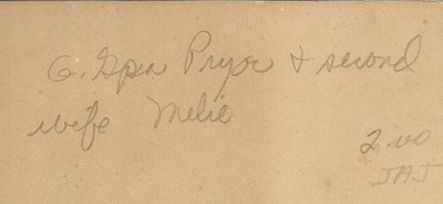 Great Grandpa Pryor and wife Melie DL ant back