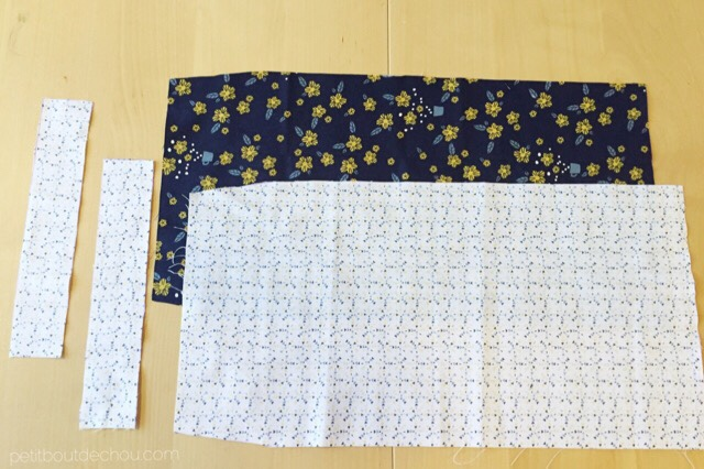 Japanese style adjustable book cover - main parts of pattern cut