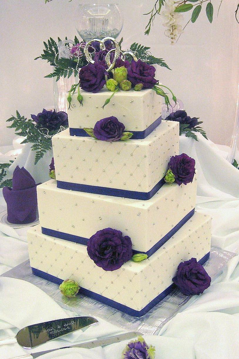 white and purple wedding cakes