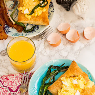 Goat Cheese Scrambled Eggs and Ramps in Puff Pastry