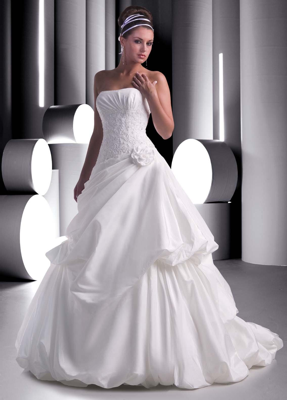 strapless bridal gown with