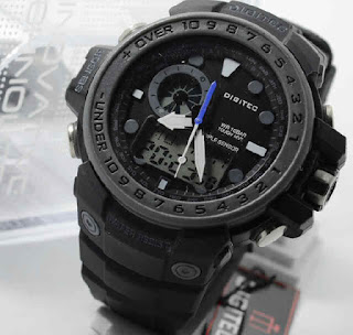 Jam Tangan Digitec 2084T black rubber grey dial  Original.