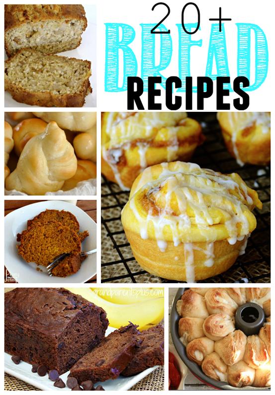 20 Bread Recipes at GingerSnapCrafts.com