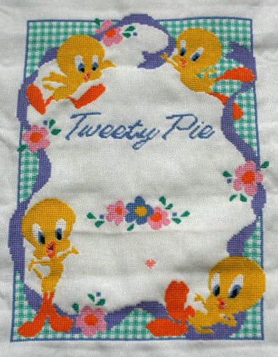 Tweety Pie Birth Sampler - WIP 2009-02