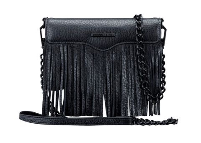 Rebecca Minkoff SS16 Tech Accessories, black leather fringed phone case