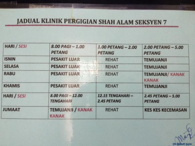 Jadual Klinik Pergigian Shah Alam Seksyen 7