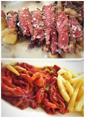 Culetón con patatas fritas y pimientos
