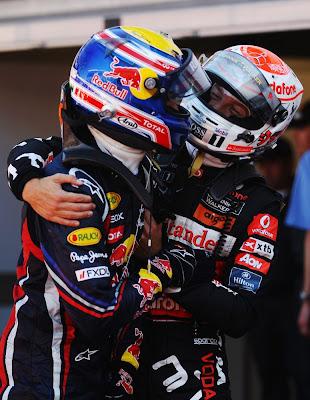 Дженсон Баттон и Марк Уэббер после квалификации на Гран-при Монако 2011