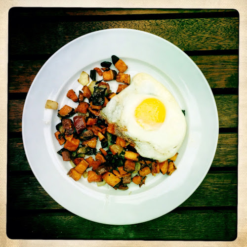 Sweet potato hash and egg