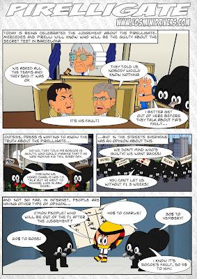 комикс Pirelligate на тему судебного разбирательства вокруг шинного скандала от MiniDrivers