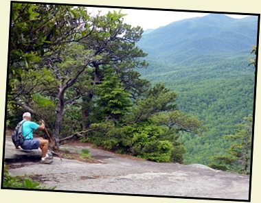 02b3 - Looking Glass Rock Hike - Bill demonstrating Butt Hiking