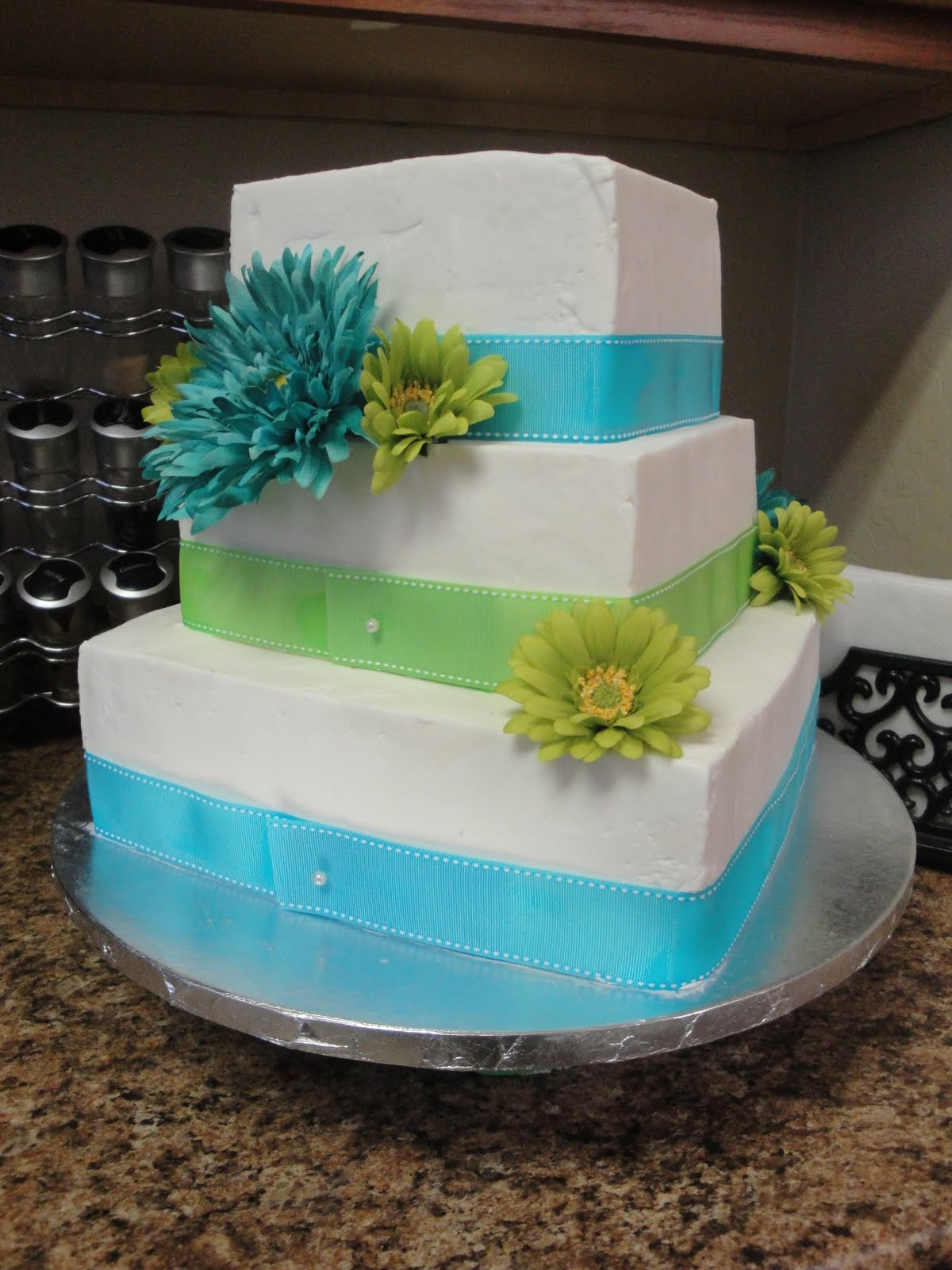 Blue & Green Wedding Cake