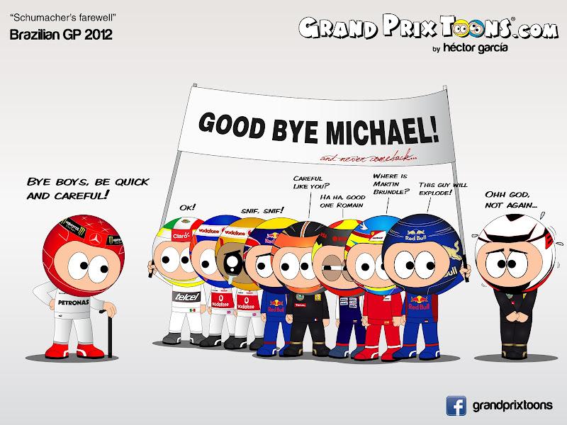 прощание с Михаэлем Шумахером на Гран-при Бразилии 2012 - Schumacher's farewell - комикс Grand Prix Toons