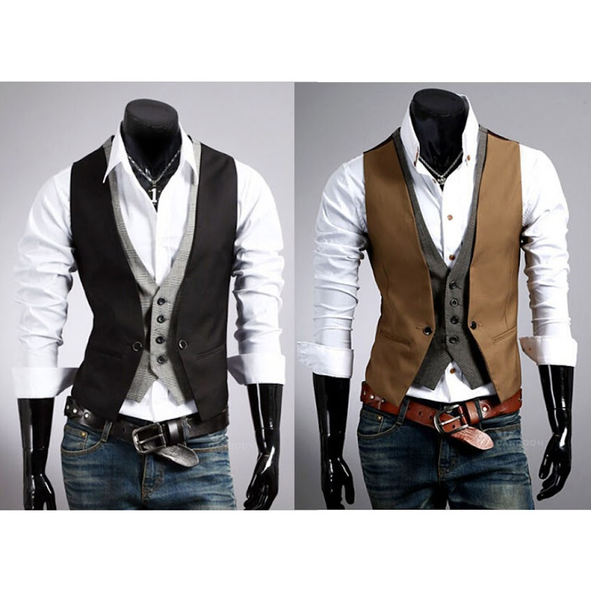 gilet costume veste veston sans manches mince double couches d contract homme ebay. Black Bedroom Furniture Sets. Home Design Ideas