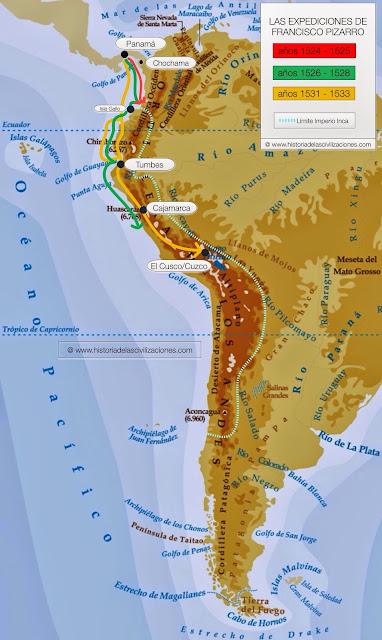 Expediciones de Francisco Pizarro. Mapa: elaboración propia. ©www.historiadelascivilizaciones.com