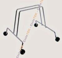 Soporte bicicleta con ruedas - Soporte de suelo para bicicleta de 1 plazas para parking o exhibición. . Construido en acero; dispone de ruedas.Estable, pero de dimensiones contenidas.