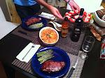 My fabulous birthday dinner - steak, asparagus & cheese, and amazing au-gratin potatoes.  Scrumptous.