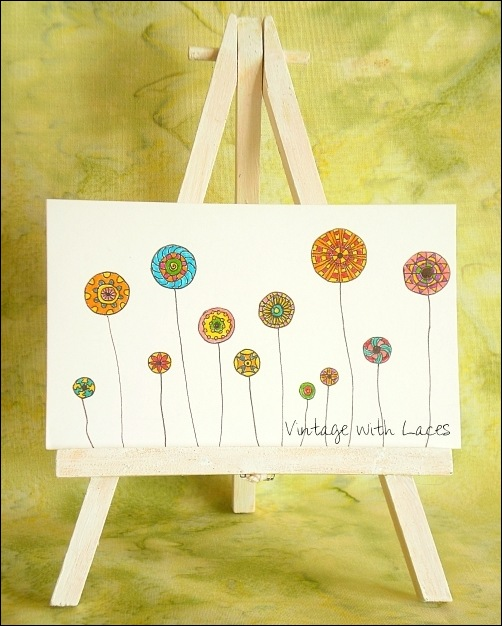 ICAD - Doodle Flowers by Vintage with Laces