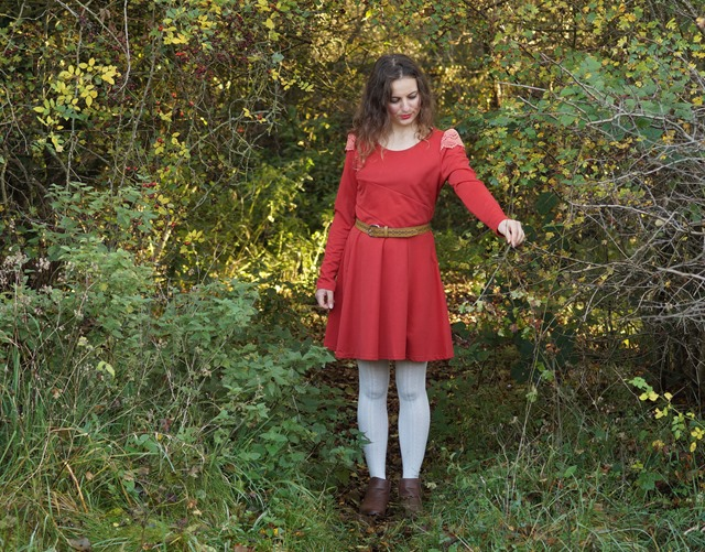 wearing a red dress in autumn