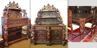 Антикварный гарнитур для столовой. 19-й век. Стол, 2 кресла, 6 стульев, два буфета. Выполнен из палисандра. 34000 евро.