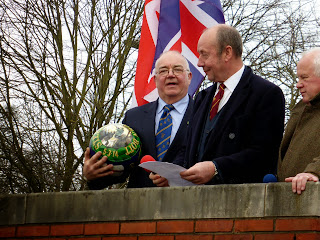 Stephen Bott with the Shrovetide Ball at the start of play on Ash Wednesday