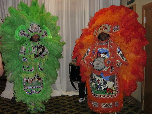 Two Mardi Gras Indians danced