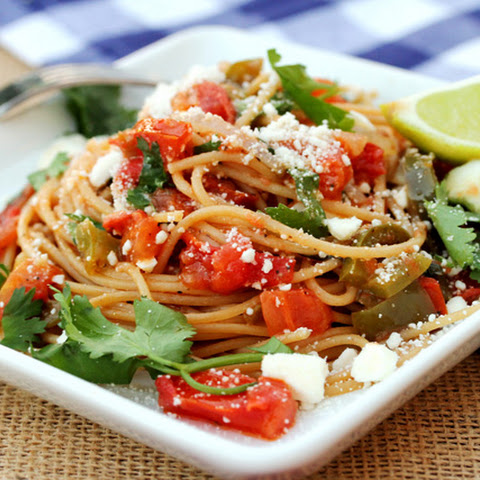 Tomato Garlic Pasta with Feta and Lime