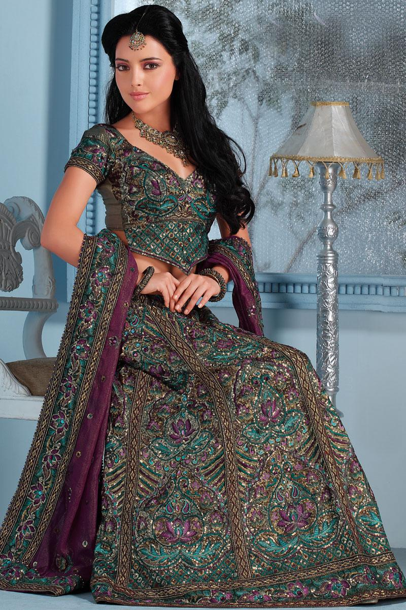 Gray and Purple Embroidered Shimmer Georgette Lehenga Choli   213.00