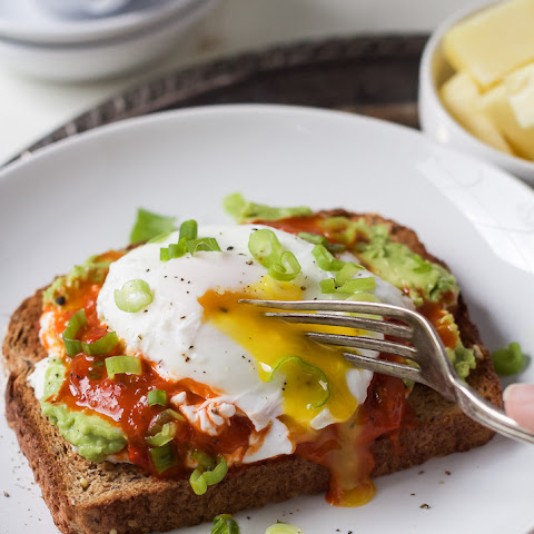 Harissa Avocado Toasts with Poached Egg