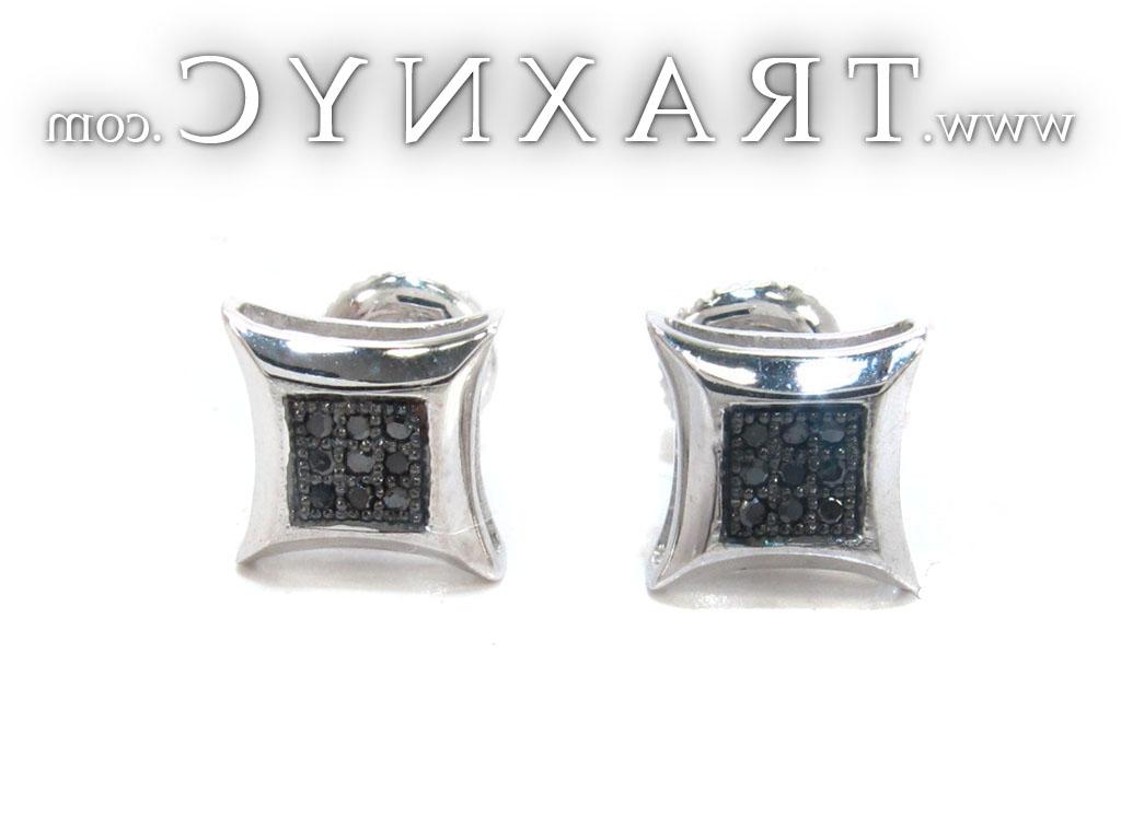 Full Size Picture for White Gold Round Cut Micro Pave Black Diamond Earrings