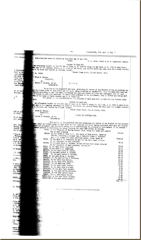 Flora E. Dudley file partitions law suit again Eda Irwin 1923 9